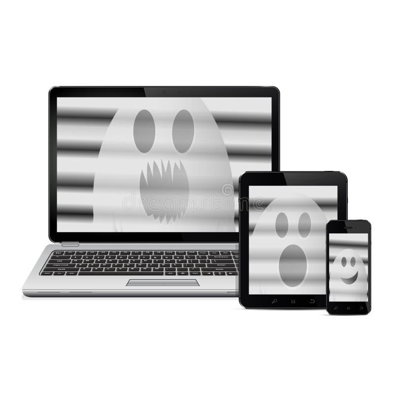 Fantasmi sugli schermi digitali dei dispositivi illustrazione vettoriale