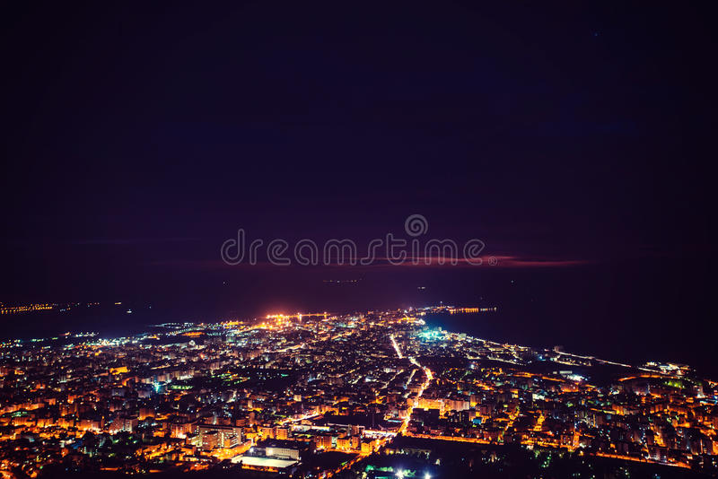 Fantastic aerial view of city illuminated with lights. Location. Trapani, Erice, Sicilia, Italy, Europe. Mediterranean and Tyrrhenian sea royalty free stock photography
