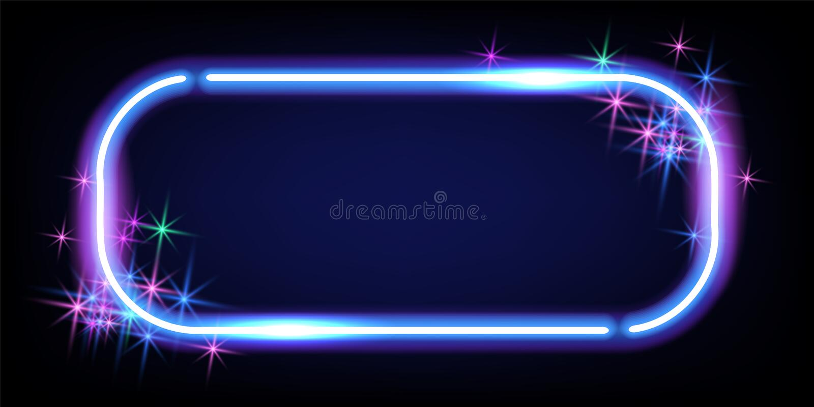 Fantastic background with neon rectangular frame, sparkle stars and space portal into another dimension royalty free stock photos