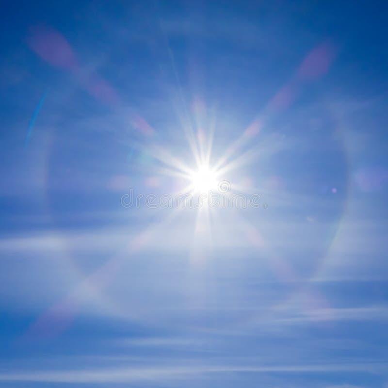 Fantastic beautiful sun halo phenomenon. Amazing sun halo phenomenon. Square image. Solar halo phenomenon. Spiritual halo phenomenon. Natural phenomenon Sun halo stock photography