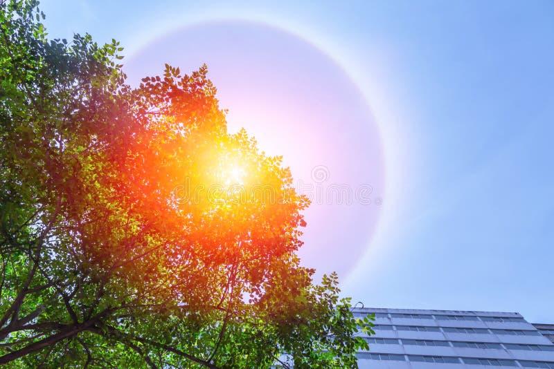 Fantastic beautiful sun halo phenomenon. In the city stock photography