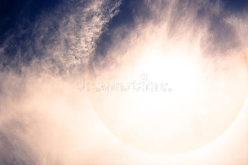 Fantastic beautiful sun halo phenomenon. For print and use as a raw material royalty free stock photo