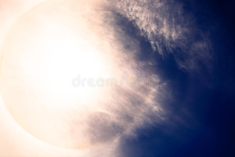 Fantastic beautiful sun halo phenomenon. For print and use as a raw material royalty free stock image