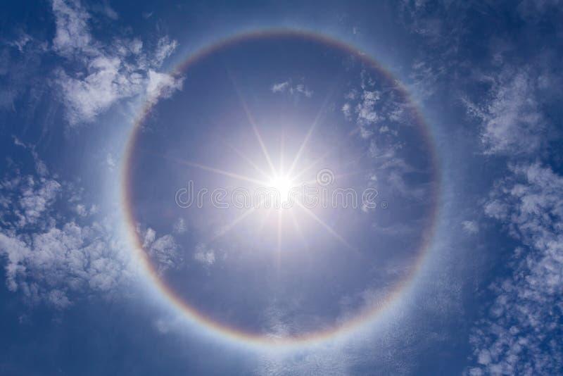 Fantastic beautiful sun halo phenomenon. In thailand royalty free stock photos