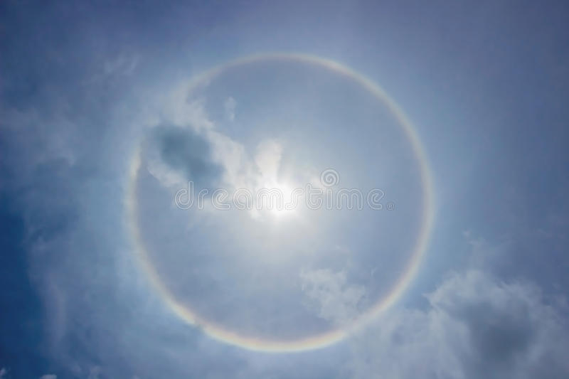Fantastic beautiful sun halo stock photos