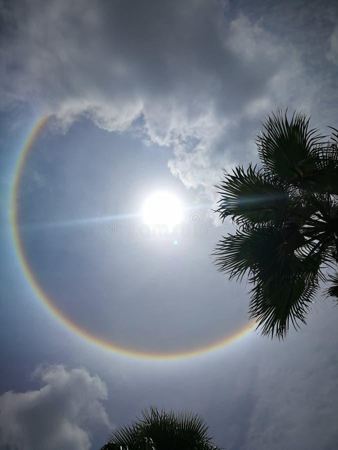 Fantastic beautiful sun halo phenomenon in Thailand. Or the sun with circular rainbow stock photos
