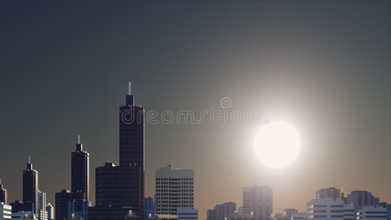 Fantastic big sun over abstract city skyline stock illustration