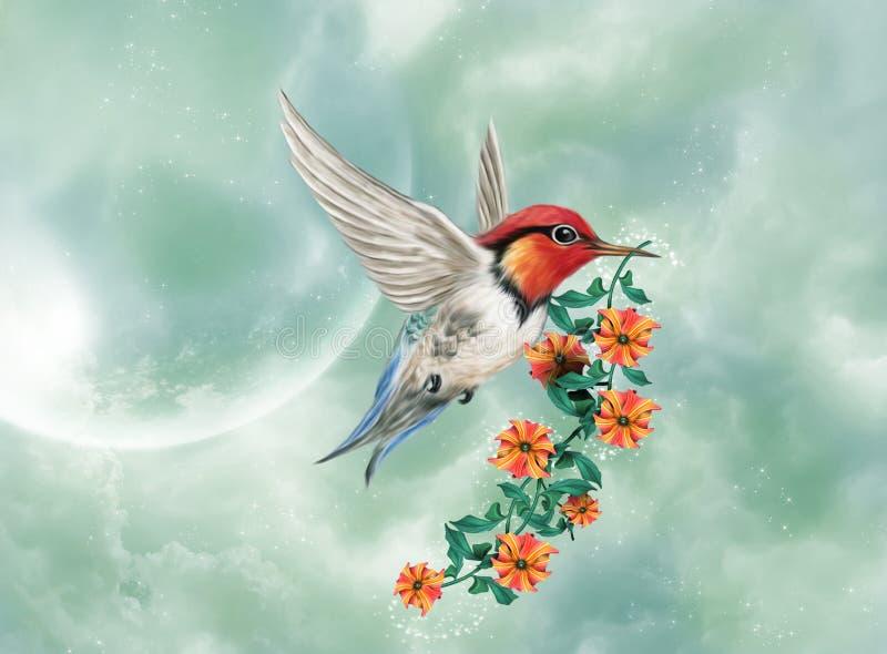 Fantastic bird flying royalty free illustration