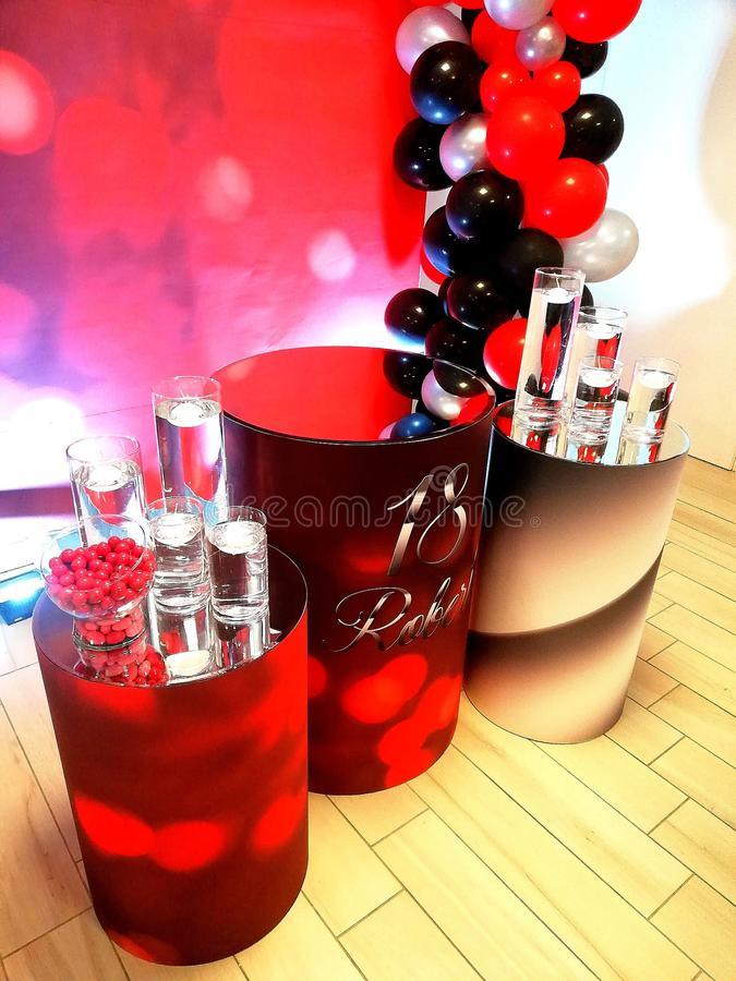 A fantastic birthday. Fantastic birthday ballons party colors red fantasy royalty free stock photos