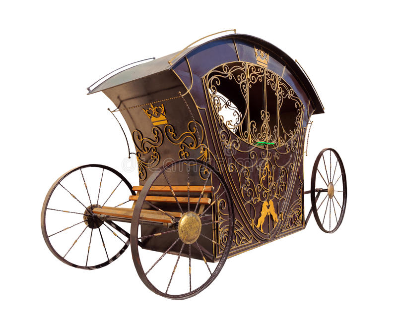 Fantastic carriage. The fantastic carriage on a white background, metal, bronze stock image