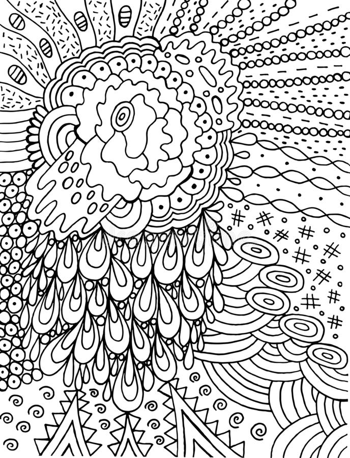Fantastic cartoon abstract doodle with flower and srops. Ink line drawing. Coloring page for adults. Vector illustration.  stock illustration