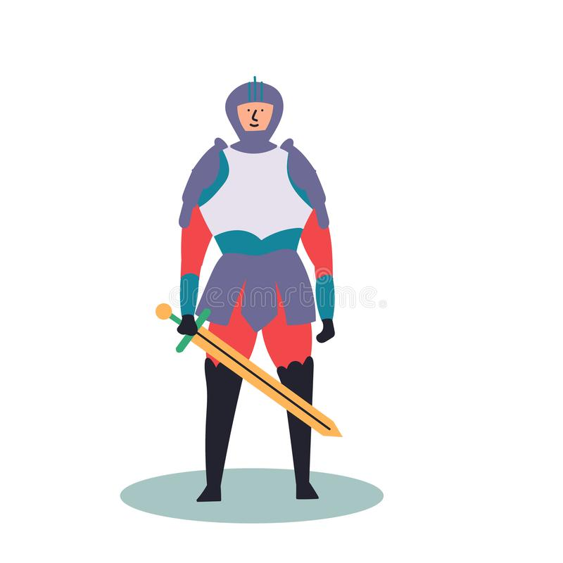 Fantastic character of a knight with a sword. Fairy tales. Editable Vector Illustration stock illustration