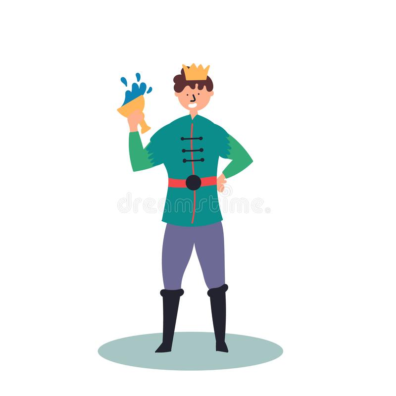 Fantastic character prince with a glass in his hand. Fairy tales. Editable Vector Illustration royalty free illustration