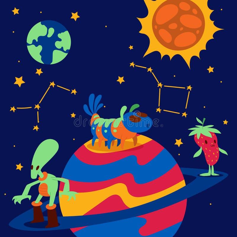Fantastic character vector cartoon animal creature funny monster on planet earth sun illustration backdrop expressive royalty free illustration