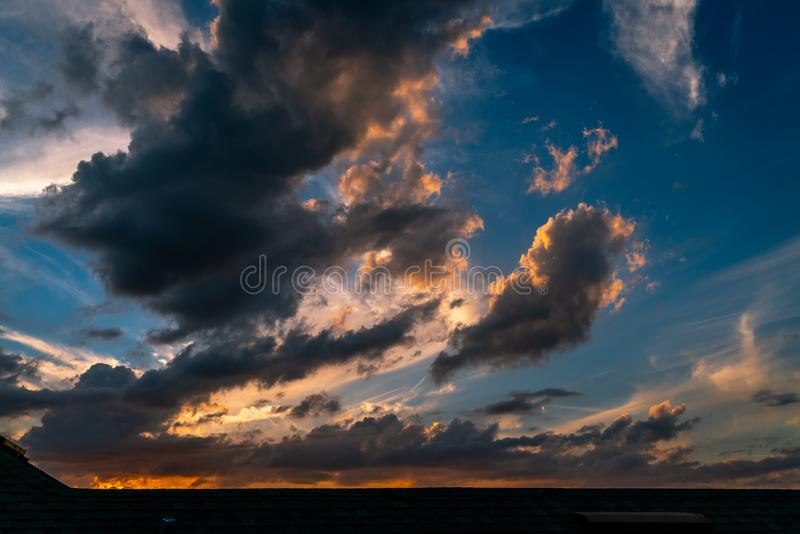 Cloud Filled Sunset. A fantastic cloud filled sunset over my Apartment building in west central Florida stock photography