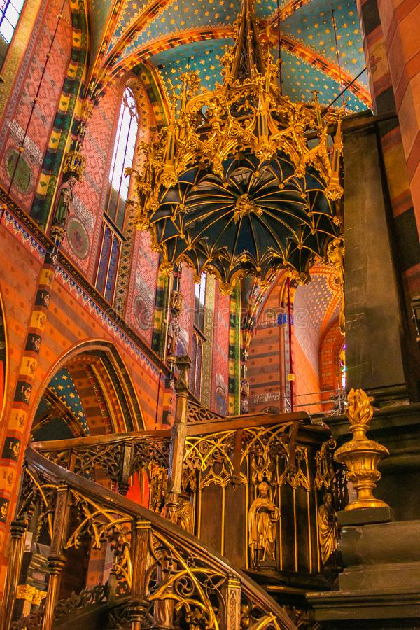 Fantastic and colored interior of Church of Our Lady Assumed into Heaven also known as Saint Mary`s Church in Krakow, Poland royalty free stock photo