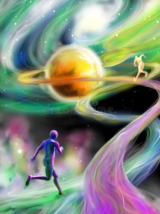 Fantastic competition in time and space. Among the stars and above the galaxies. Digital art stock illustration