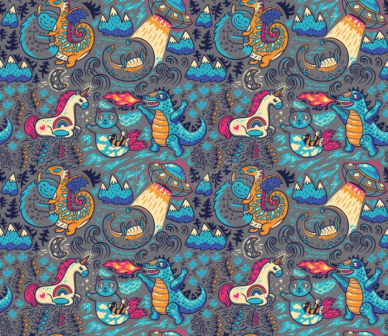 Fantastic creatures, animals pattern. Vector cute background royalty free illustration