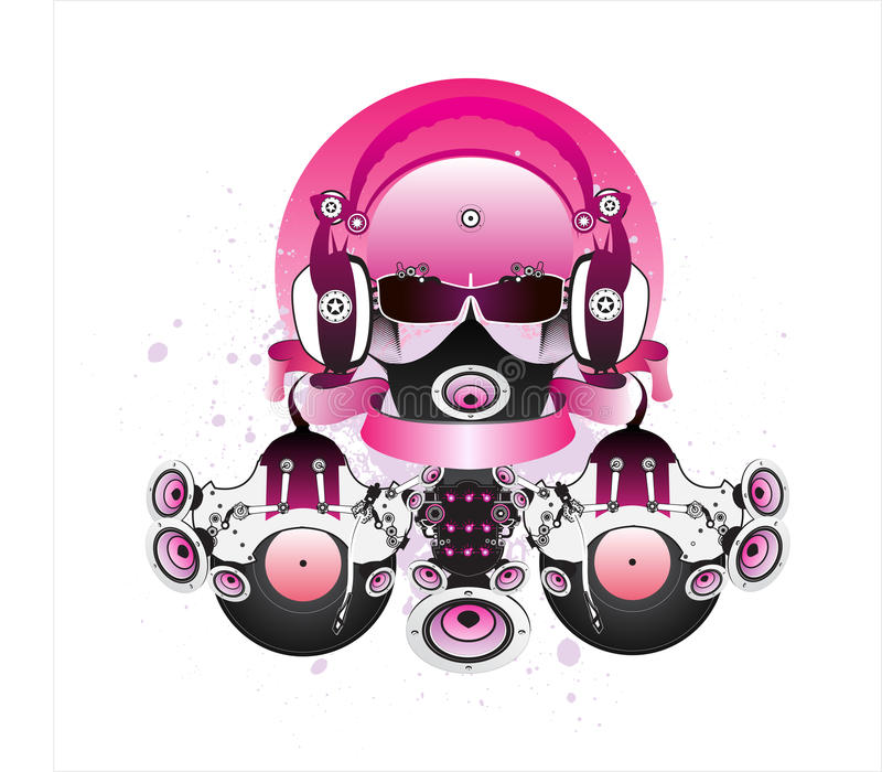 Fantastic DJ with glasses and headphones. stock photo