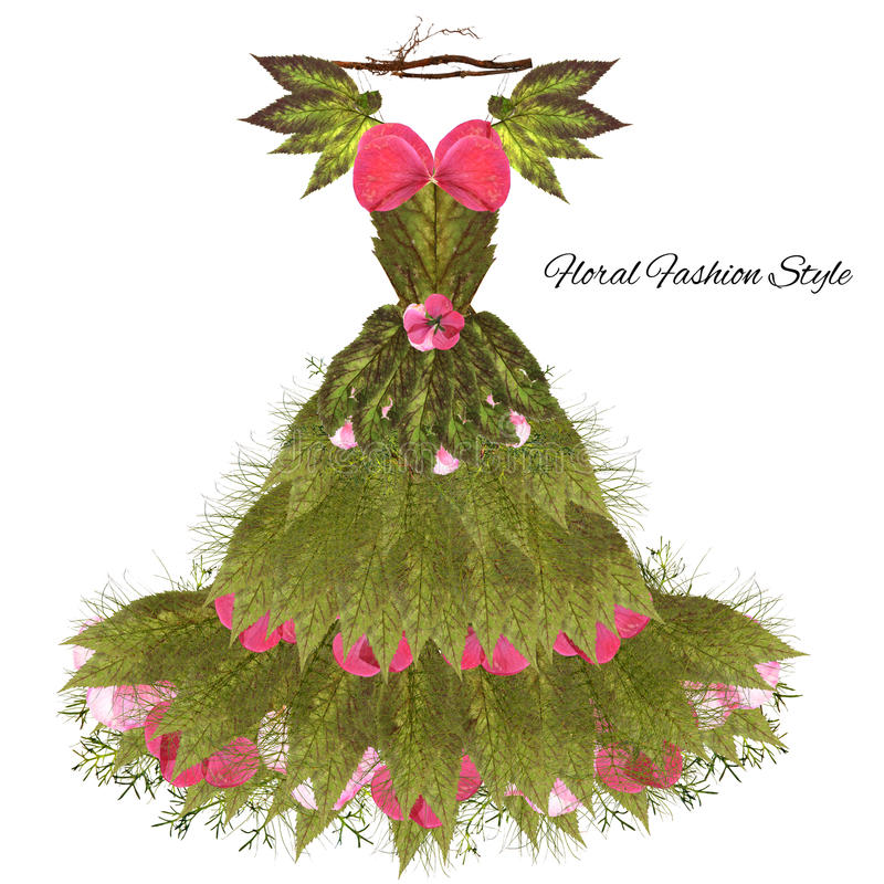 Fantastic dress made of flowers on a hanger stock images