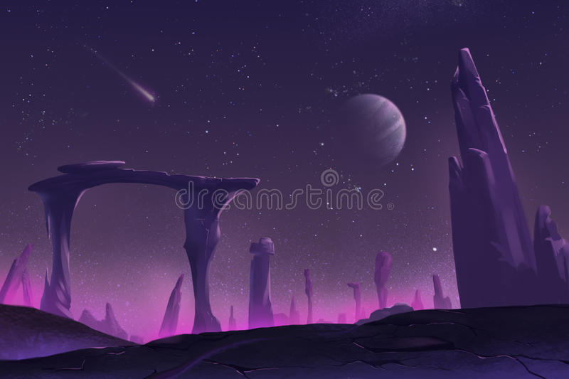 Fantastic and Exotic Allen Planet stock illustration