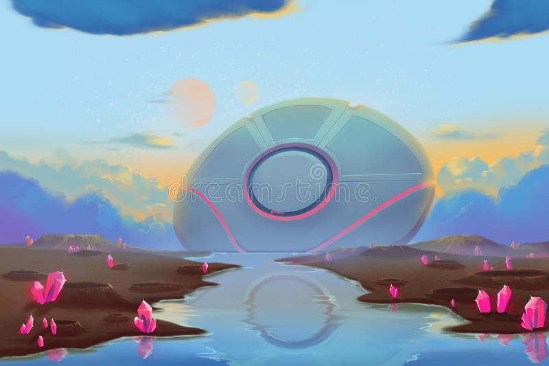 Fantastic and Exotic Allen Planets Environment: Falling UFO. royalty free illustration