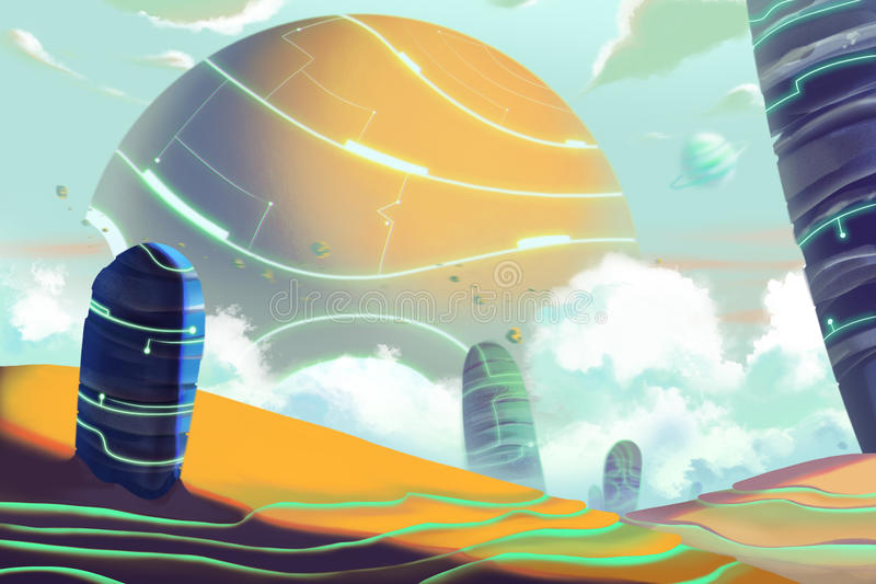 Fantastic and Exotic Allen Planets Environment and Landscape. royalty free illustration