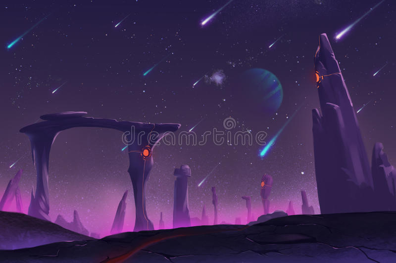 Fantastic and Exotic Allen Planets Environment: Meteor Shower at Night stock illustration