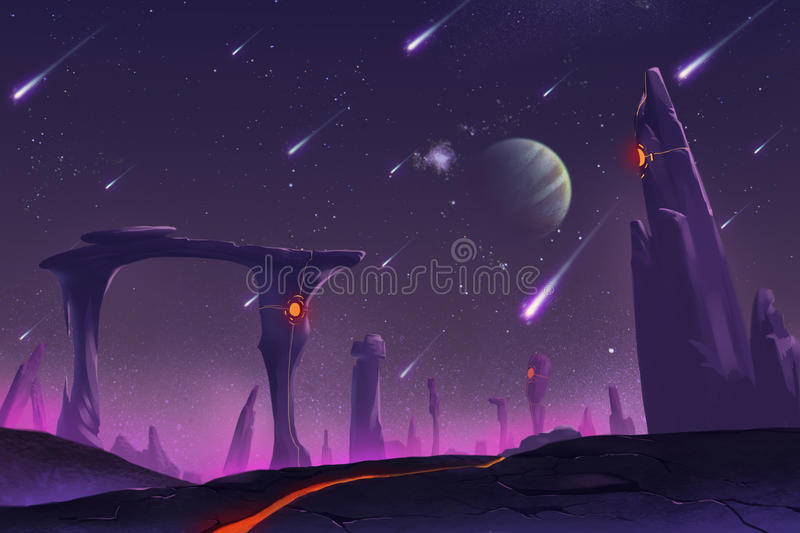 Fantastic and Exotic Allen Planets Environment: Stone Pillars stock illustration