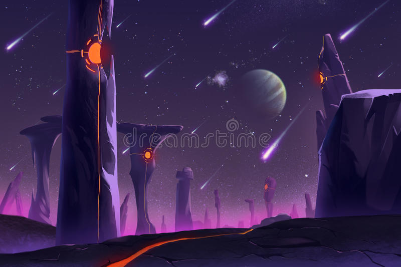 Fantastic and Exotic Allen Planets Environment: Stonehenge royalty free illustration