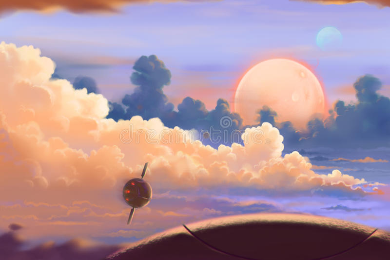 Fantastic and Exotic Allen Planets Environment: Up in the Air. stock illustration