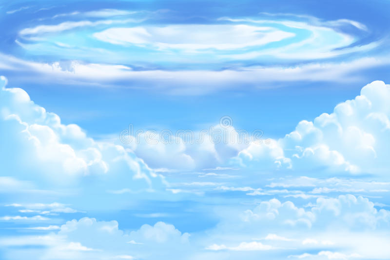 Fantastic and Exotic Environment: The White Clouds Sea with Swirling vector illustration