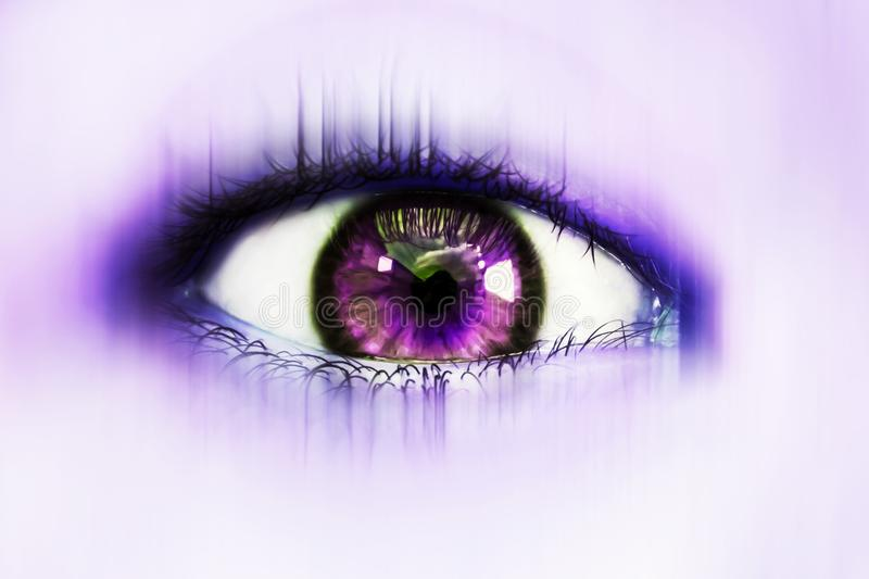 Fantastic eye in purple tones stock image