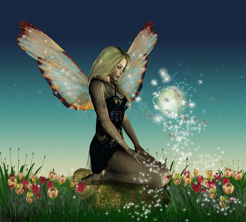 Fantastic fairy flowered. Fairy sitting on a rock in a beautiful garden in the sunset stock illustration