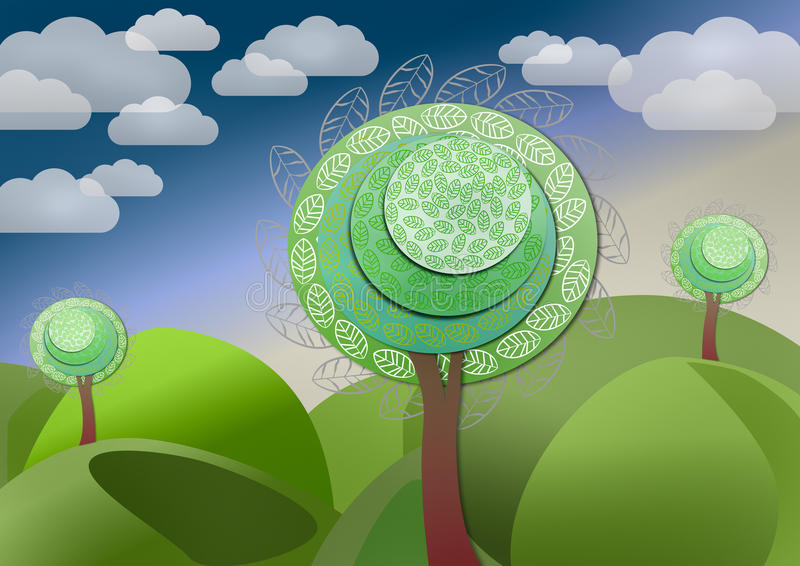Download Fantastic fairytale tree stock illustration. Image of clouds - 48505642