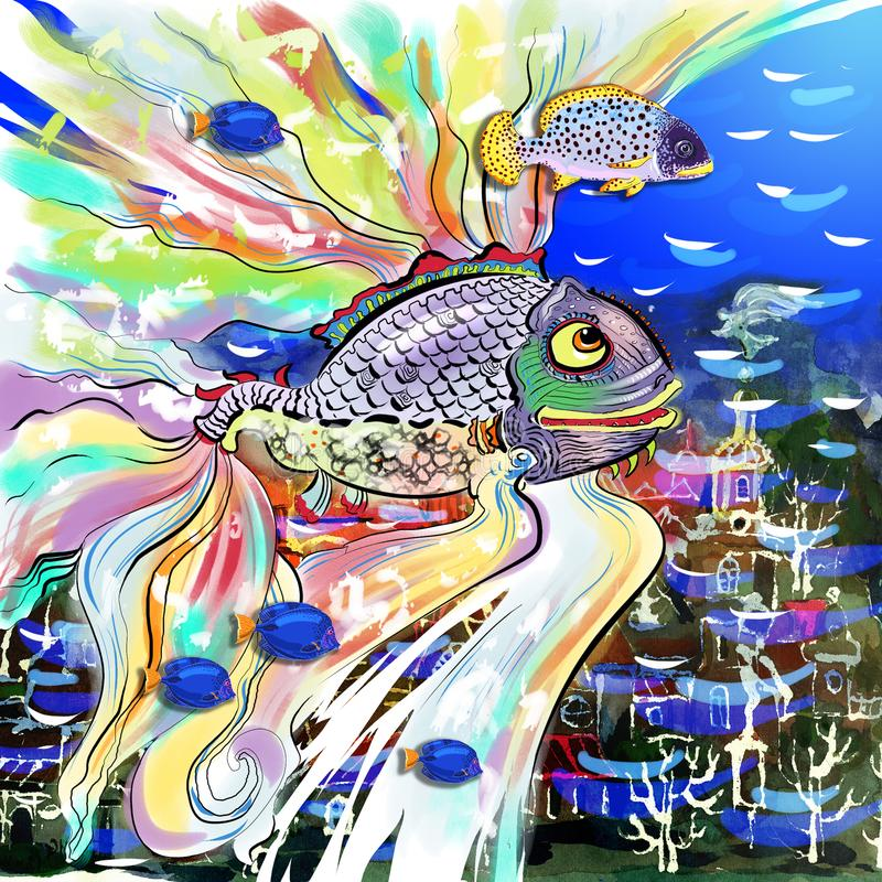 Fantastic fish over underwater city stock illustration