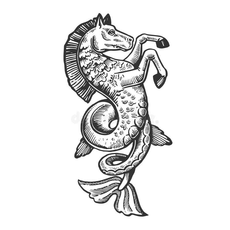 Fantastic fish horse animal engraving vector. Fantastic fabulous fish horse animal engraving vector illustration. Scratch board style imitation. Black and white stock illustration