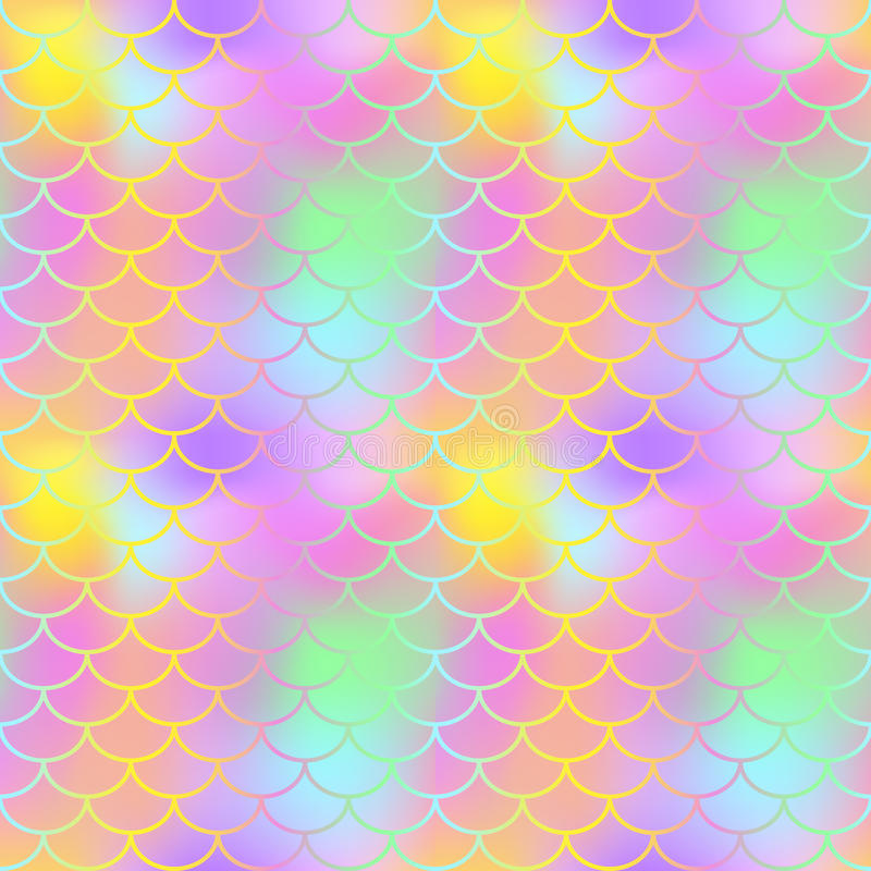 Fantastic fish skin seamless pattern. Golden pink green fishscale swatch texture background. royalty free illustration