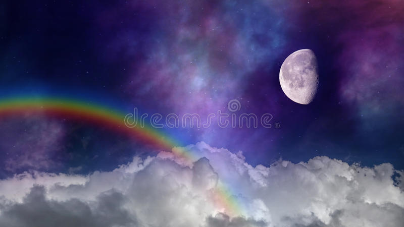 Fantastic flight in space. White clouds, rainbow and the moon in the night sky fantastic background royalty free stock photos