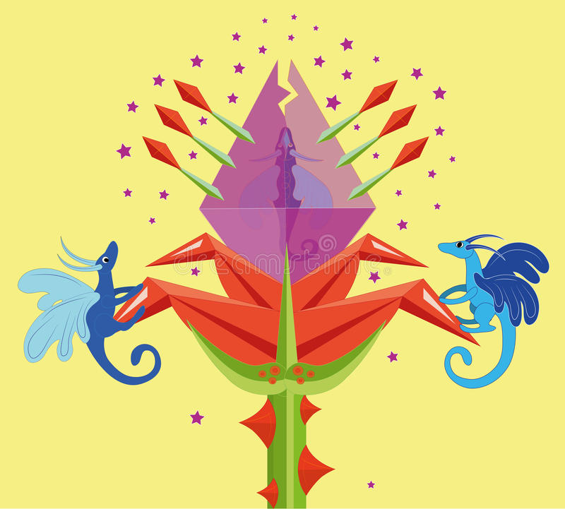 Download Fantastic Flower And Dragons. Stock Vector - Image: 29186322