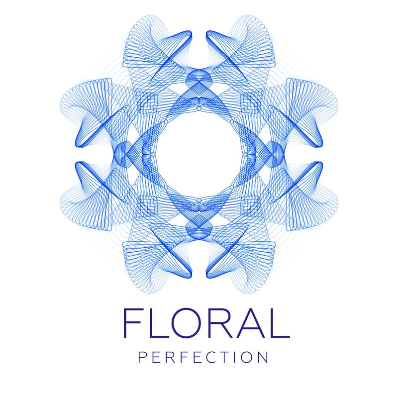 Fantastic blue flower, abstract shape with lots of blending lines stock illustration