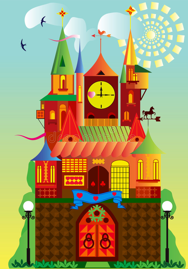 Fantastic fortress. Illustration of a fantastic fortress. Tavern in the wild West royalty free illustration