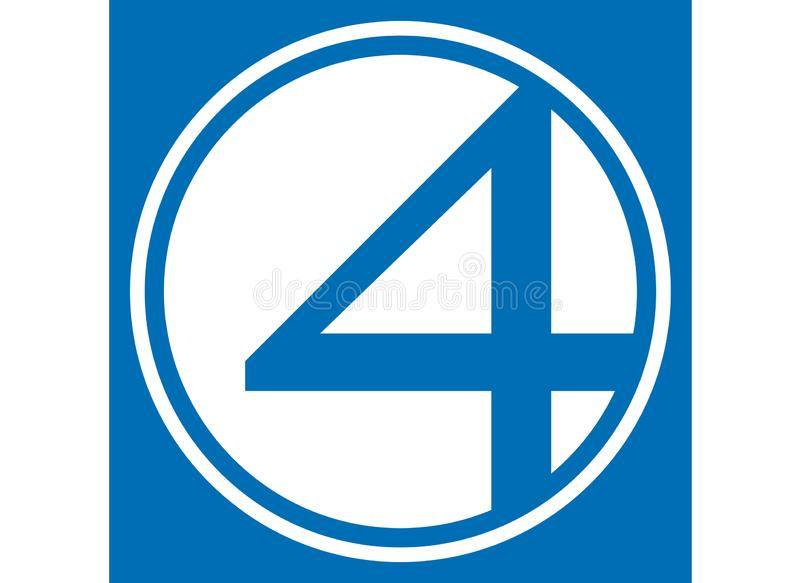 Fantastic Four Logo, superhero. Best quality illustration of famous Fantastic Four logo isolated on transparent background. High version vector available in royalty free illustration