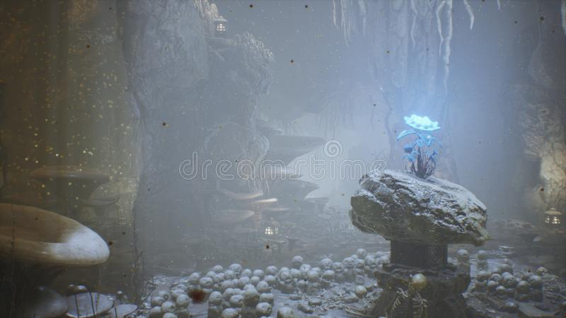 Fantastic green mushrooms and magic blue flower in a amazing cave. Beautiful magic mushrooms in the fantasy cave and royalty free illustration
