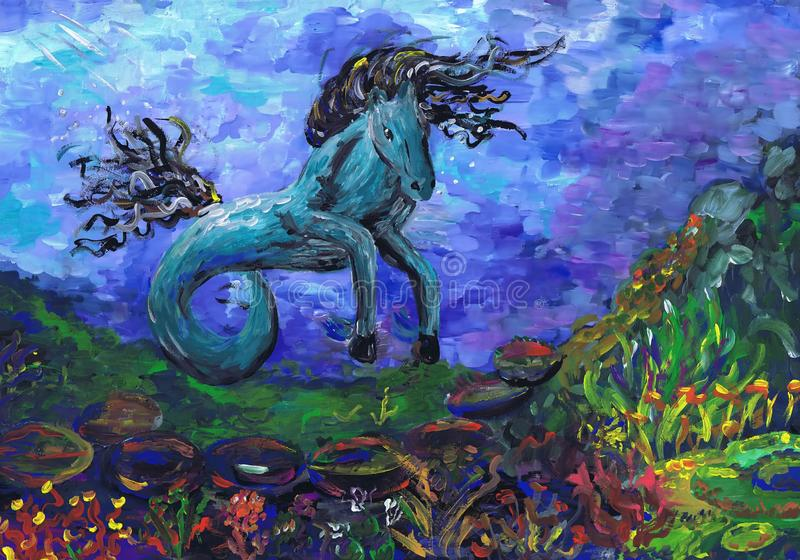 Fantastic horse with two legs. Children`s drawing royalty free stock photography