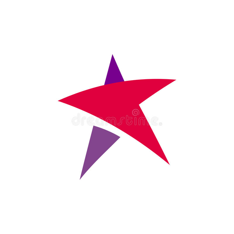 Fantastic isolated simple flat red and violet color star logo of unusual shape. Vector logotype and icon of the abstract. Form royalty free illustration
