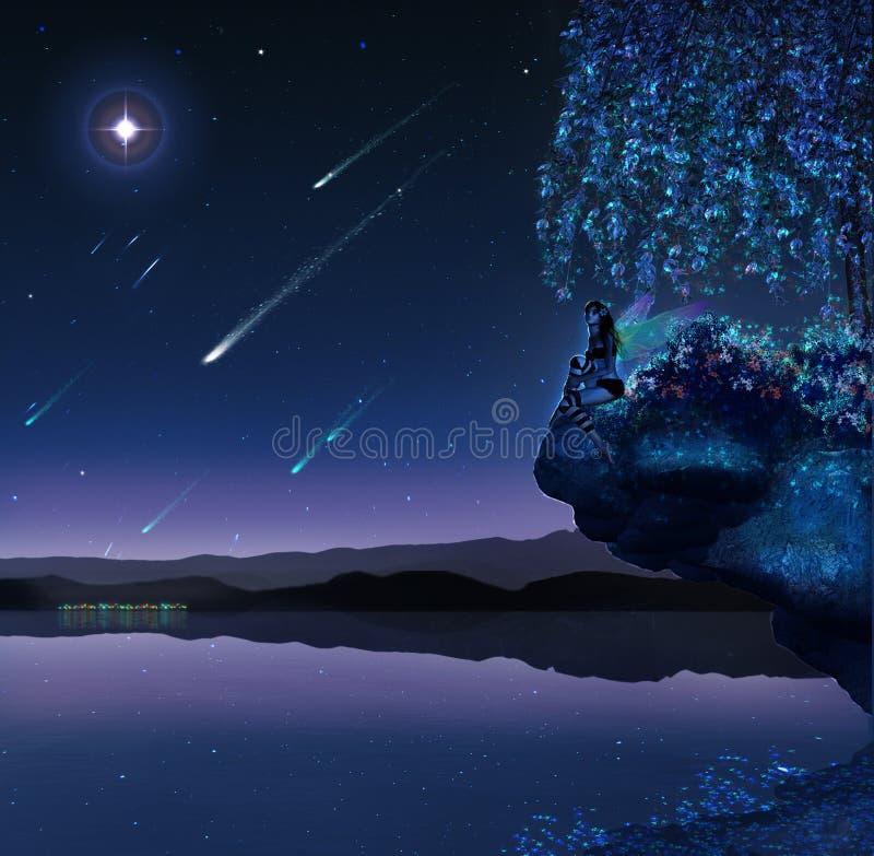 Download Fantastic lake stock illustration. Image of rock, comets - 23618541
