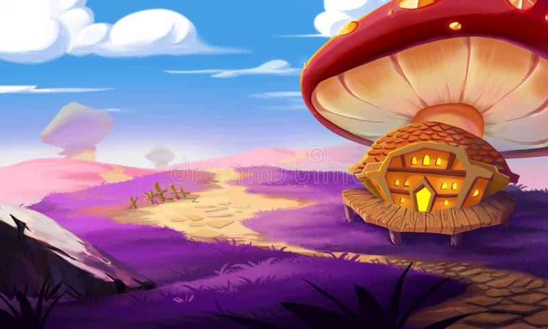 A Fantastic Land, a Huge Mushroom and a House Built near it. Illustration: A Fantastic Land, a Huge Mushroom and a House Built near it. Realistic Fantastic royalty free illustration