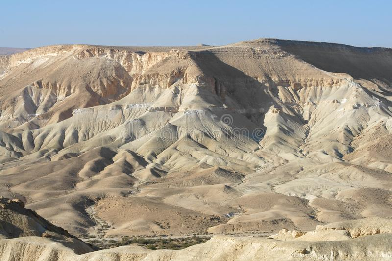 Fantastic landscape of Ein Avdat and Zin Valley. Negev, desert and semidesert region of southern Israel. Hot summer 2019 royalty free stock photography