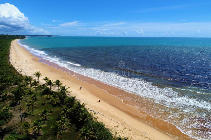 Caraíva, Bahia, Brazil: Aerial view of a beautiful beach with two colors of water. Fantastic landscape. Great beach view. Caraíva, Porto Seguro, Bahia royalty free stock image